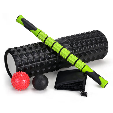 5-In-1 Large size Foam Roller Kit with Muscle Roller Stick and Massage Balls, High Density 18