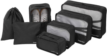 FITNATE 7 Packs Travel Storage Bag Breathable, Lightweight and Durable, Luggage Organizer Multifunctional Cubes (Black)