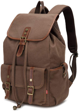 Canvas Backpack, FITNANTE 14-Inch Laptop Backpack Travel Rucksack, Adjustable Strap Vintage Canvas Backpack (Brown)