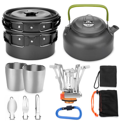 ODOLAND 12pcs Camping Cookware Mess Kit with Mini Stove, Lightweight Pot Pan Kettle with 2 Cups Fork Knife Spoon Kit for Backpacking Outdoor Camping Hiking and Picnic