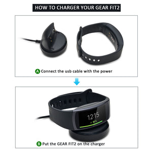 AGPtek Charger Dock Charger Charging Cradle Dock Desktop Holder Adapter for Samsung Gear Fit 2 SM-R360