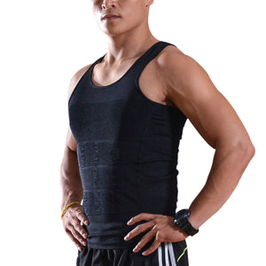 Men Elastic Slimming body shaper Vest Shirt Lose Weight - L Size