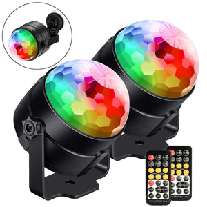 LED Disco Light, FITNATE [2-Pack] Sound Activated Party Lights with Remote Control Dj Lighting, Strobe Lamp 7 Modes Stage Par Light With Night Light  for Home Room, Dance Parties ,Bar, Wedding &Show Club