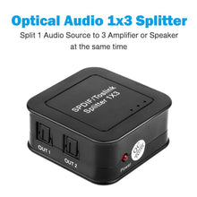 SPDIF/TOSLINK Optical Digital Audio Splitter 1x3 Fiber Audio Splitter 1 In 3 Out Powered Amplifier Supports 5.1CH/LPCM2.0/DTS/Dolby-AC3