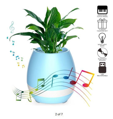 Touch Plant Music Playing Flowerpot Smart Multi-color LED Light Round Bluetooth Wireless Speaker (whitout Plants) blue