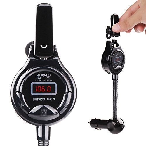 IMAGE Bluetooth Headset with Car FM Transmitter [Protect Your Privacy] Bluetooth 4.0 Multipoint Handsfree Car Kit, Support 3.5mm Aux in, with Dual USB Charger(5V/2.1A) for iPhone Samsung