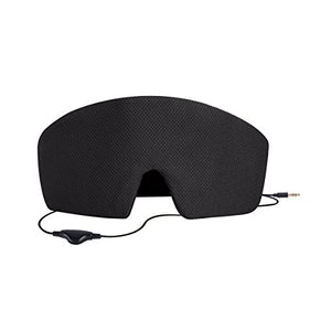 AGPtEK Ultra Soft Comfortable Wired Sleep Headphones Eye Mask Built-in HD Audio Speaker,Perfect for Noise Canceling&Bedtime & Travel &Meditation, Black