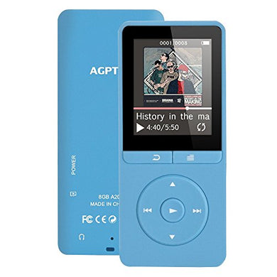 AGPTEK A20 8GB MP3 Player with FM Radio/ Voice Recorder, 80 Hours Playback and Expandable Up to 64GB with Independent Lock & Volume Control, Blue