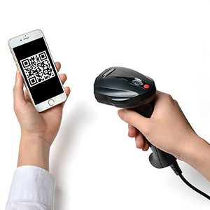 2D QR USB Barcode Scanner, AGPtek Handheld Wired USB Barcode Reader, Read on smart phones tablet PC Mac screens directly (black)