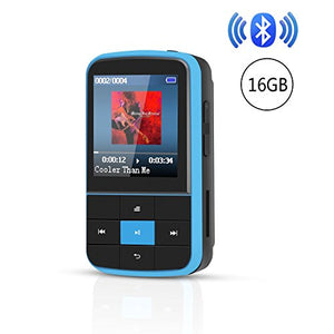 AGPTEK G15 16GB Bluetooth 4.0 MP3 Player, Wearable Clip Supports Playlist FM Radio with Sport Armband, Expandable Up to 128GB, Blue