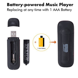 AGPtEK U3 Usb Stick Mp3 Player, Music Player with USB Flash Drive, Recording, FM Radio, Supports up to 32GB, Black