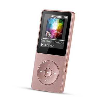 AGPTEK 8GB MP3 Player, A02 70 Hours Playback Lossless Sound Music Player (Supports up to 128GB), Rose Gold