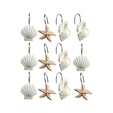 AGPtek 12 Pcs Blue Green Llight Brown 3 Colors Beautiful Anti Rust Alloy Durable Seashell Shower Curtain Hooks Hangers Best Bathroom Decor (Light brown)