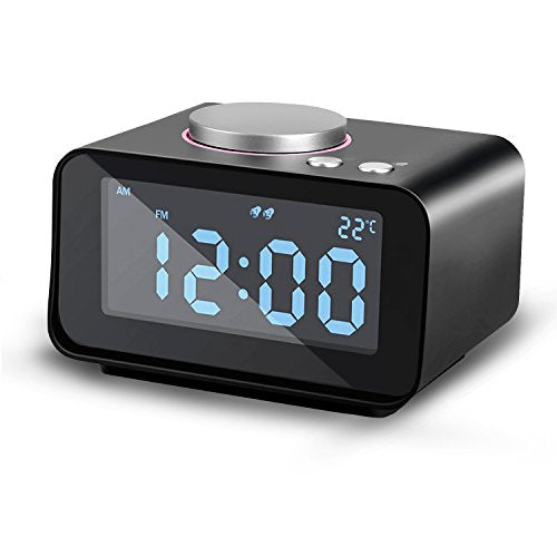Dual Alarm Clock, AGPtEK Multi-Function Alarm Clock with FM Radio& Indoor Thermometer, Dual USB Charging &AUX IN with 5 Levels Brightness Snooze Function–Black