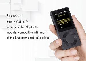 AGPTEK Bluetooth MP3 Player ROCKER V2 High Resolution Digital Audio Player, Supports up to 256GB, Black