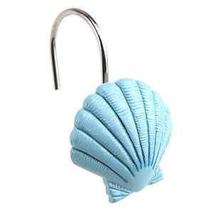 AGPtek® 12 PCS Fashion Decorative Home Bathroom Seashell Shower Curtain Hooks (Seashell: Blue; Starfish: Tan; Conch: Blue)