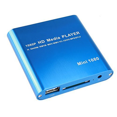 AGPtek Blue Mini Full HD 1080P Digital Streaming Media Player-MKV/RM-SD/USB HDD-HDMI CVBS YPbPr