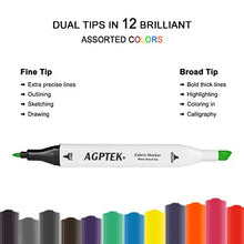 AGPtEK 12 Colors Fabric Marker Paint Set with Dual Tips for Children Creating on Paper, Wood, Clothing & More