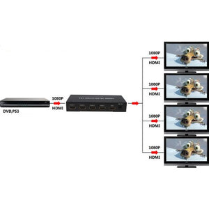 BrainyTrade Mini Hdmi Splitter - Splits HDMI Signal to 4 HDMI Displays (Support 1080p)