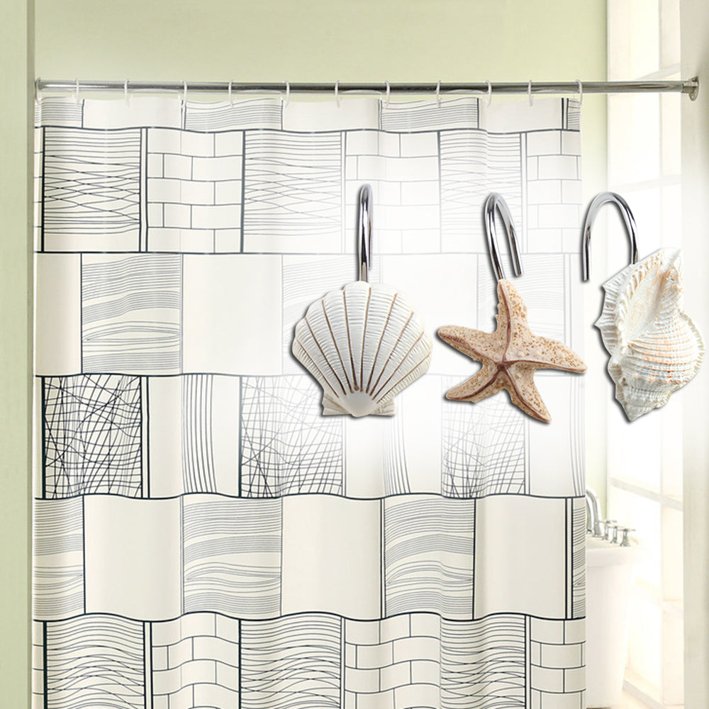 AGPTEK 12 PCS DECORATIVE Seashell Shower Curtain Hooks Bathroom Beach Brainydeal