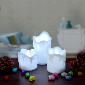 LED Candles Battery Operated Flameless smokeless 3 PCS/set Wax Dripped Exterior design Premium Votive Candles for Wedding/Party Decorations cool white