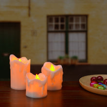 AGPTEK LED Flameless Candles Battery Operated 3 PCS/set Premium Wax Dripped Candles for Wedding/Party Decorations - Amber Yellow