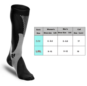 Odoland Compression Sports Socks, Authentic Socks for Recovery & Performance, Men & Women Compression Socking - black (1 Pair)