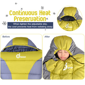 Cold Weather 32F Mummy Sleeping Bag ¨C Windproof, Waterproof, Super Comfortable Bag with Compression Sack for Camping, Traveling, Survival and Outdoor Activities