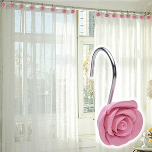 Shower Curtain Hooks, AGPtek 12PCS Anti Rust Decorative Resin Hooks for Bathroom, Baby room, Bedroom, Living room Decor (Pink Rose)