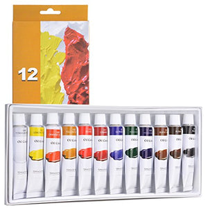 Oil Paint Set, AGPtEK 12 Tubes Vivid Color Non-Toxic Paints for Beginners, Students & Professional Painters, For Canvas, Wood, Ceramic, Fabric, Leather and Nail Art, 12ml Each