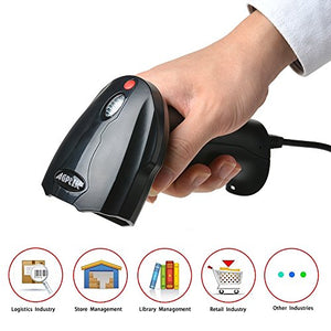 2D QR USB Barcode Scanner,AGPtek Handheld Wired USB Barcode Reader,Read on smart phones tablet PC Mac screens directly(black)