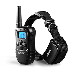 【Upgraded version】AGPtek Wireless Rechargeable LCD digital Dog Training Shock Collar with 100LV of Shock and Vibration, Remote Control (Collar Waterproof)