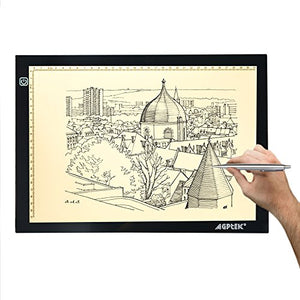 AGPtek New A4 LED Artcraft Tracing Light Pad Extra Large Active Area 12.6 x 9 inch Ultra-thin Only 5mm Stepless Brightness Control Tatoo Pad Aniamtion, Sketching, Designing, Stencilling
