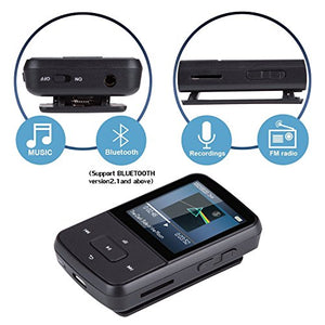 AGPTEK G05S Bluetooth MP3 Player, 8GB Clip Sports Lossless Music Player (Supports up to 64GB) with FM Radio, Black