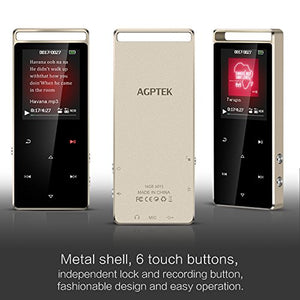 AGPTEK A01S 16GB MP3 Player Touch Screen with FM /Radio, Lossless Sound Metal Music Player with Touch Button & Independent Lock (Support up to 128GB) for Sport, Black