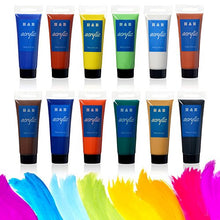 75ml LARGE Acrylic Paint Set, AGPtEK 12 Tubles Vibrant Colors Pigments Studio Kit for Nail Art, Craft, Canvas, Fabric,Ceramic, Wood and Clay