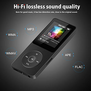 AGPtEK 16GB & 70 Hours Playback MP3 Lossless Sound Music Player (Supports up to 64GB), Black