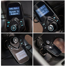 AGPtek Wireless In-Car Bluetooth 3.0+EDR FM Transmitter Radio Adapter Hands-Free Car Kit with 1.44 Inch Display 2 Ports USB Car Charger, Supports 4 Modes AUX/Bluetooth A2DP/TF card /U Flash Disk Play