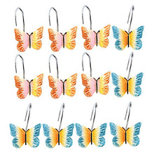 AGPtek 12PCS Home Fashions Butterfly Anti Rust Decorative Resin Hooks for Bathroom Shower Curtain ,Bedroom,Living room Curtain