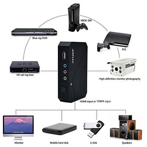 AGPtEK HD Game Capture video capture 1080P HDMI/ YPBPR Recorder Xbox 360&One/ PS3 PS4, Support Mic in with both HDMI and YpbPr Input
