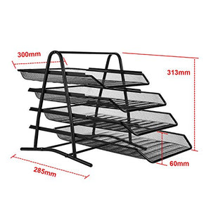 AGPtEK 4 Tiers Black Mesh Filling Desk Letter Paper Storage Tray Organizer for Home & Office Use