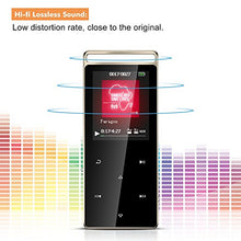 AGPTEK A01T 8GB Bluetooth MP3 Player Touch Screen with FM/ Voice Rocord, Lossless Sound Metal Music Player with Touch Button & Independent Lock, 1.8 Inch TFT Screen, (Support up to 128GB),Black