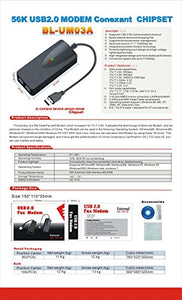 AGPtek USB 56K Fax Voice Data External Modem Dual Port