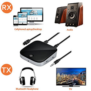 AGPtek Bluetooth 4.1 Transmitter & Receiver, 2-in-1 Bluetooth Transmitter & Receiver with Digital Optical TOSLINK & Wireless 3.5mm Audio Adapter for TV Home Car Stereo System Black