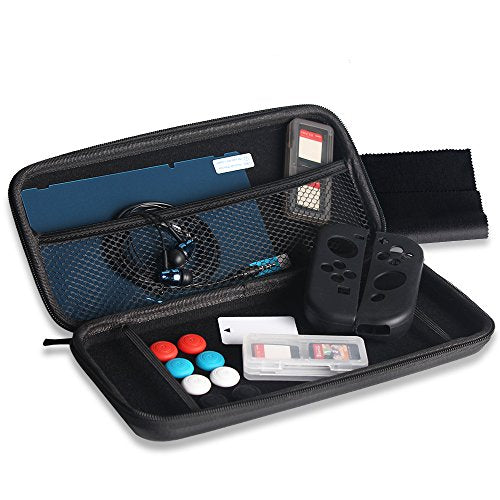 AGPtEK Carry Bag Set, 13PCS, Silicone Case for Nintendo Switch with Game Card Case, Screen Protector, Jon-Con Grip & Earphone
