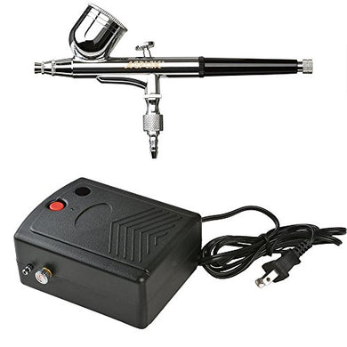 Portable Airbrush Set, AGPtEK Multi-Purpose Precision Dual-Action Gravity Feed 0.3mm Nozzle Airbrush Kit with Mini Air Compressor,A 5 Feet Air hose, and An Airbrush Training Book