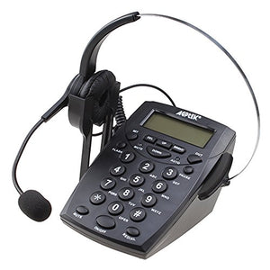 AGPtek® Handsfree Call Center Dialpad Corded Telephone #HA0021 with  Monaural Headset Headphones Tone Dial Key Pad & REDIAL- 1 Year Warranty