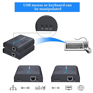 AGPtEK USB HDMI KVM Extender Over Single Cat 5/5E/6/7 Ethernet Cable- Signal Extension Up to 120m/365Ft- USB Keyboard Mouse Support- Adapter for Residential/ Commercial Use