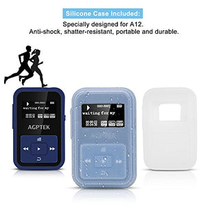 AGPTEK A12 8GB Clip Bluetooth Mp3 Player, Sports Clip Hi-Fi Sound Music Player with FM Radio, 1.1inch OLED, Sweatproof Silicone Case, Support up to 128GB, Dark Blue