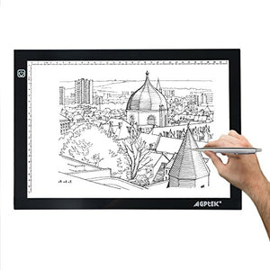 A4 Size Tracing Light Pad, AGPtEK LED Light Box Extra Large Active Area 12.6 x 9 inch Ultra-thin Stepless Brightness Control For Artists, Drawing, Sketching, Animation - 6000k white